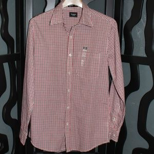 NWT  HAGGAR  Plaid L/S Button-Up Size S